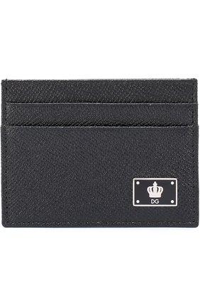Кожаный футляр для кредитных карт Dolce & Gabbana черного цвета | Фото №1