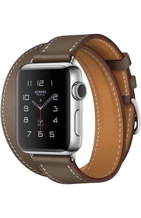 Смарт-часы Apple Watch Hermès Series 2 38mm Stainless Steel Case с кожаным ремешком Double Tour цвета Étoupe | Фото №1