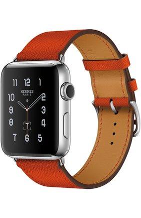 Смарт-часы Apple Watch Hermès Series 2 42mm Stainless Steel Case с кожаным ремешком Simple Tour цвета Feu   Фото №1