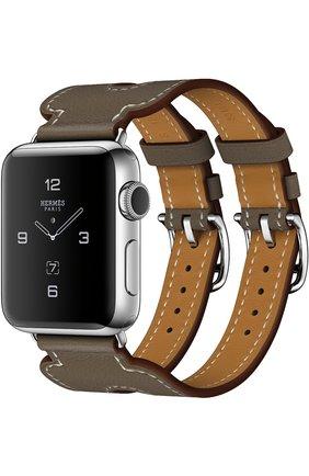 Смарт-часы Apple Watch Hermès Series 2 38mm Stainless Steel Case с кожаным ремешком Manchette цвета Étoupe с двойной пряжкой | Фото №1
