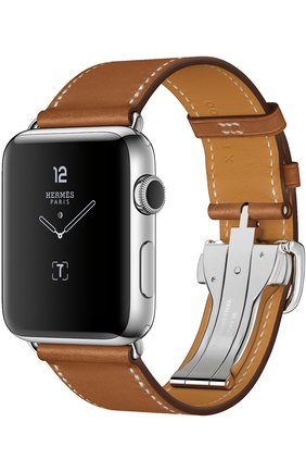Смарт-часы Apple Watch Hermès Series 2 42mm Stainless Steel Case с кожаным ремешком Simple Tour цвета Fauve с раскладывающейся застёжкой | Фото №1