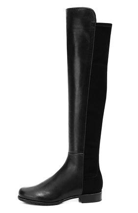 Комбинированные сапоги на низком каблуке Stuart Weitzman черные | Фото №1
