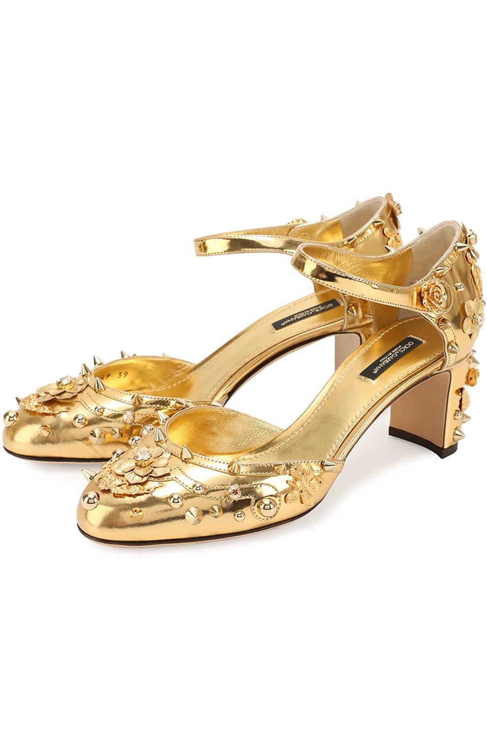 Туфли Vally из металлизированной кожи с декором | Фото №1
