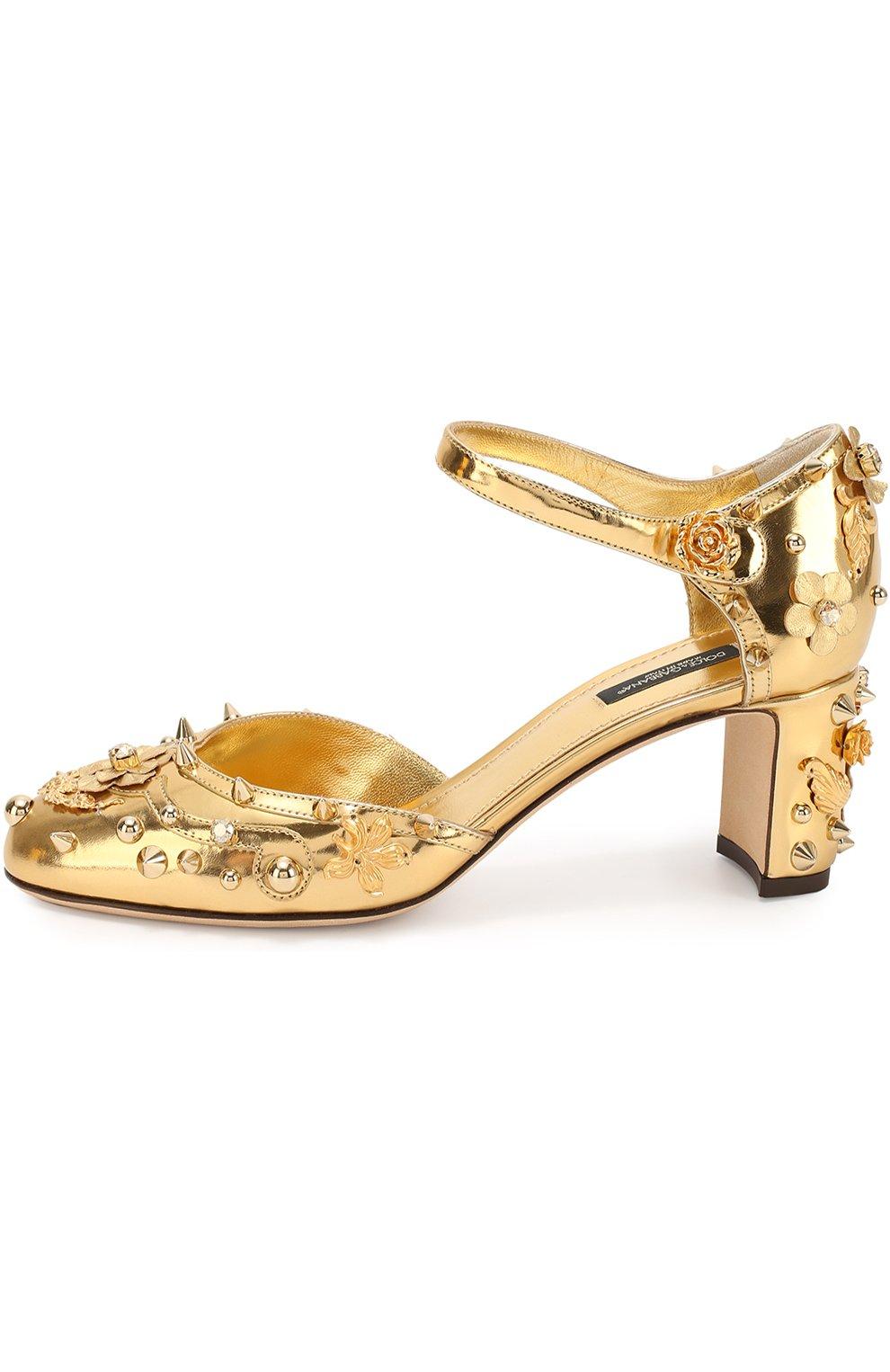 Туфли Vally из металлизированной кожи с декором | Фото №3