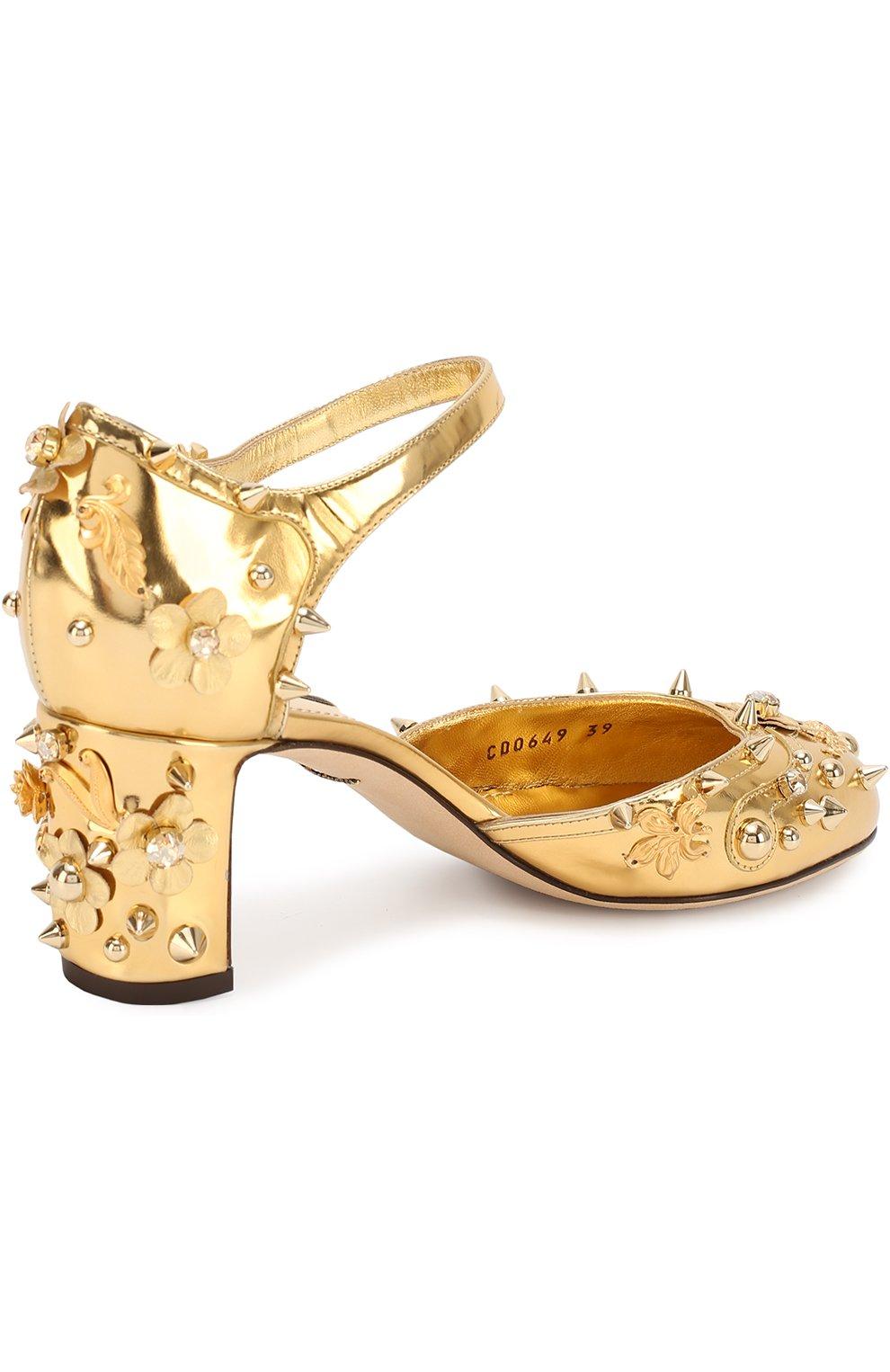 Туфли Vally из металлизированной кожи с декором | Фото №4