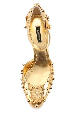 Туфли Vally из металлизированной кожи с декором | Фото №5