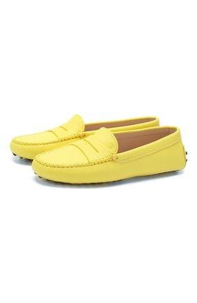 Женские кожаные мокасины gommini TOD'S желтого цвета, арт. XXW00G000105J1 | Фото 1