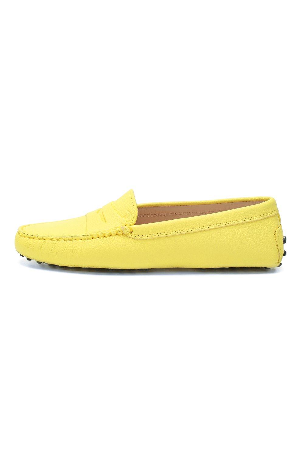Кожаные мокасины Gommini Tod's желтые | Фото №3