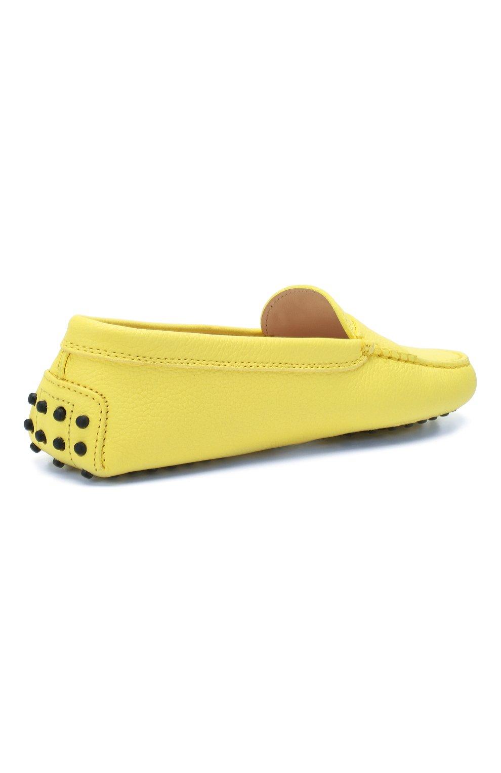Кожаные мокасины Gommini Tod's желтые | Фото №4