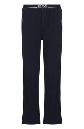 Хлопковые домашние брюки свободного кроя BOSS синие | Фото №1