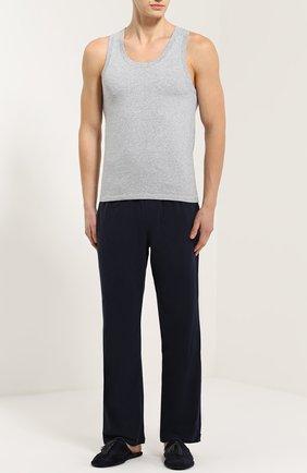 Хлопковые домашние брюки свободного кроя BOSS синие | Фото №2