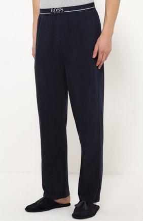 Хлопковые домашние брюки свободного кроя BOSS синие | Фото №3