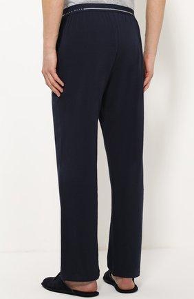 Хлопковые домашние брюки свободного кроя BOSS синие | Фото №4