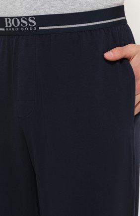 Хлопковые домашние брюки свободного кроя BOSS синие | Фото №5