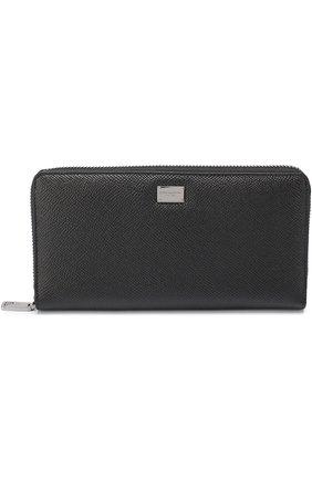 Кожаное портмоне Dolce & Gabbana черного цвета | Фото №1