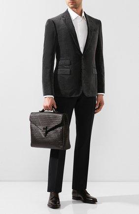 Мужской кожаный портфель BOTTEGA VENETA темно-коричневого цвета, арт. 113095/V4651   Фото 2