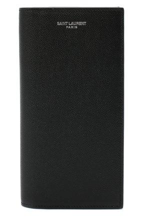Мужской кожаное портмоне SAINT LAURENT черного цвета, арт. 396308/BTY0N   Фото 1