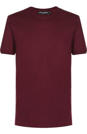 Хлопковая футболка с круглым вырезом Dolce & Gabbana бордовая | Фото №1