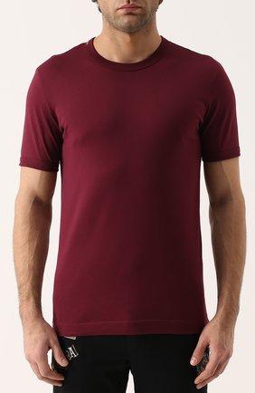 Хлопковая футболка с круглым вырезом Dolce & Gabbana бордовая | Фото №3