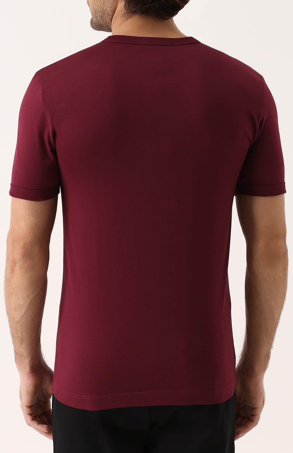 Хлопковая футболка с круглым вырезом Dolce & Gabbana бордовая | Фото №4