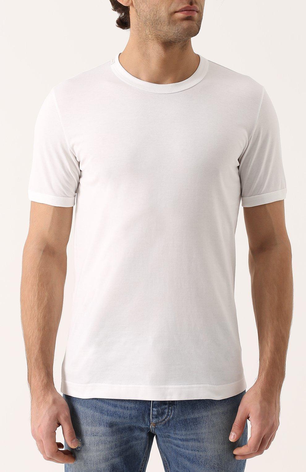 Хлопковая футболка с круглым вырезом | Фото №3