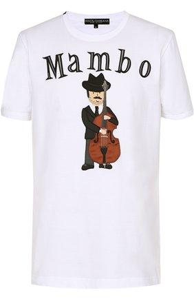 Хлопковая футболка с аппликацией Dolce & Gabbana белая | Фото №1