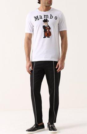 Хлопковая футболка с аппликацией Dolce & Gabbana белая | Фото №2