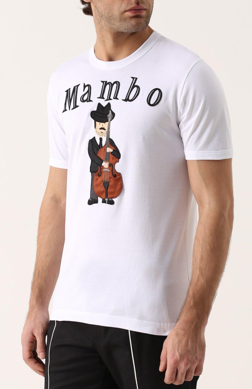 Хлопковая футболка с аппликацией Dolce & Gabbana белая | Фото №3