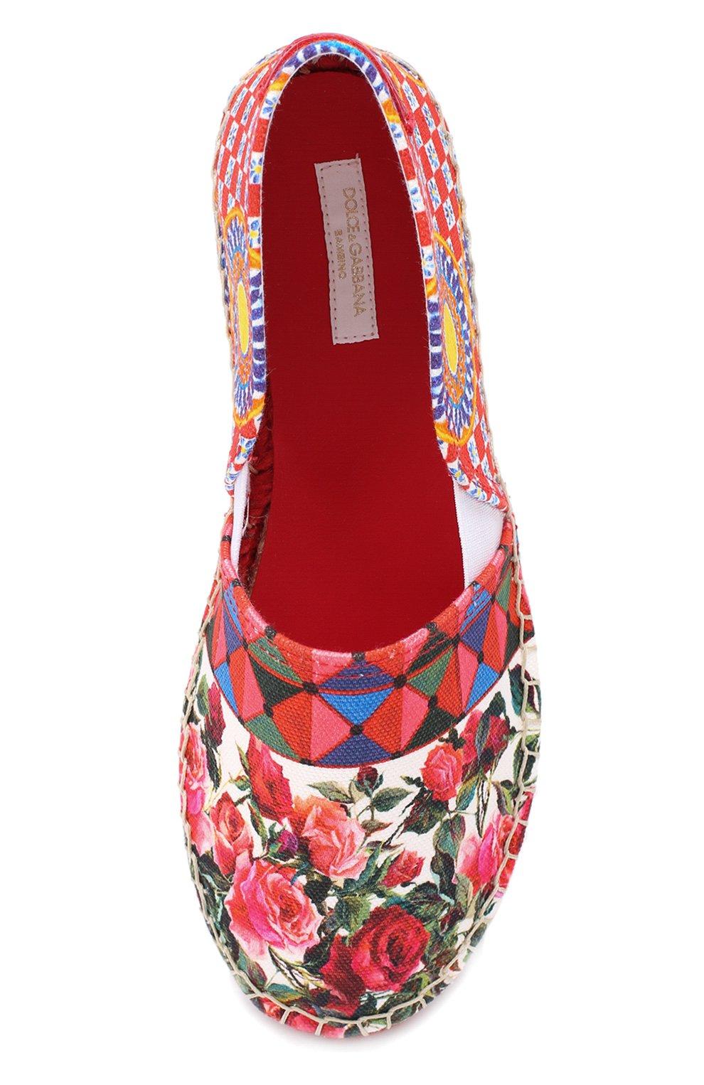 Детские эспадрильи из хлопка с принтом Dolce & Gabbana разноцветного цвета | Фото №4