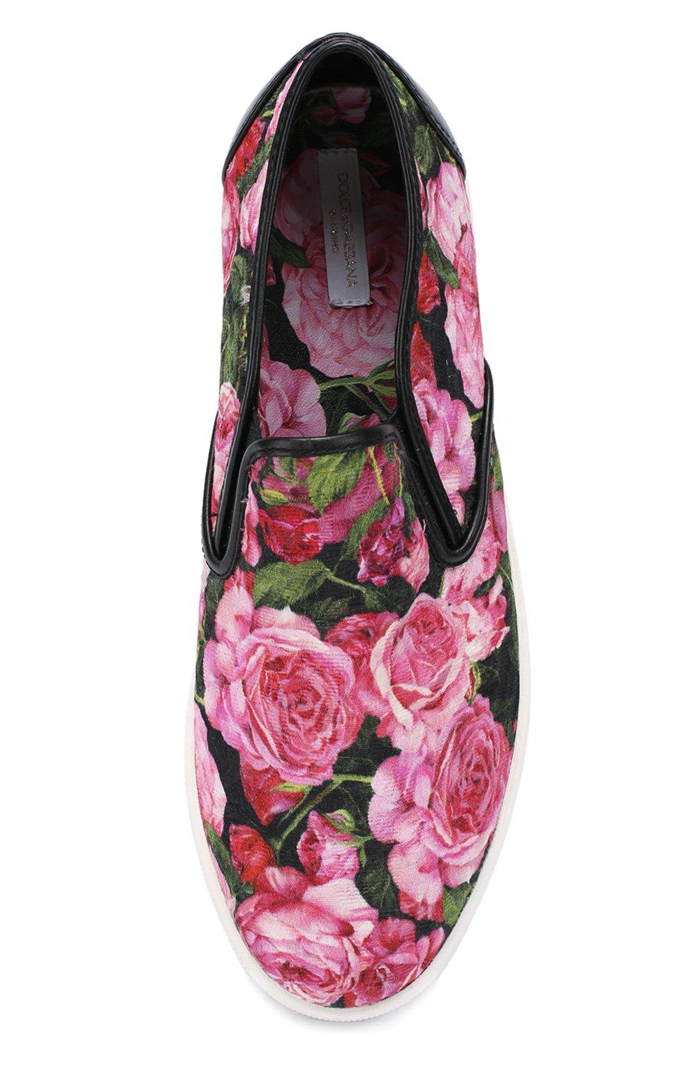 Текстильные слипоны с цветочным принтом   Фото №4