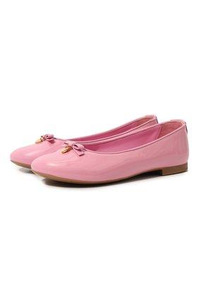 Детские лаковые балетки DOLCE & GABBANA розового цвета, арт. 0132/D10341/A1328/29-36 | Фото 1