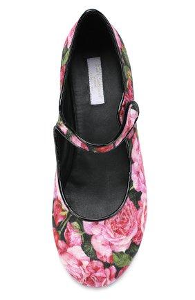 Детские текстильные балетки с цветочным принтом Dolce & Gabbana черного цвета | Фото №4