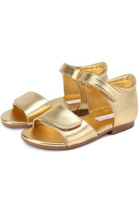 Детские босоножки из металлизированной кожи Dolce & Gabbana золотого цвета | Фото №1