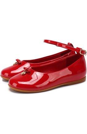 Лаковые туфли с бантом и подвеской | Фото №1