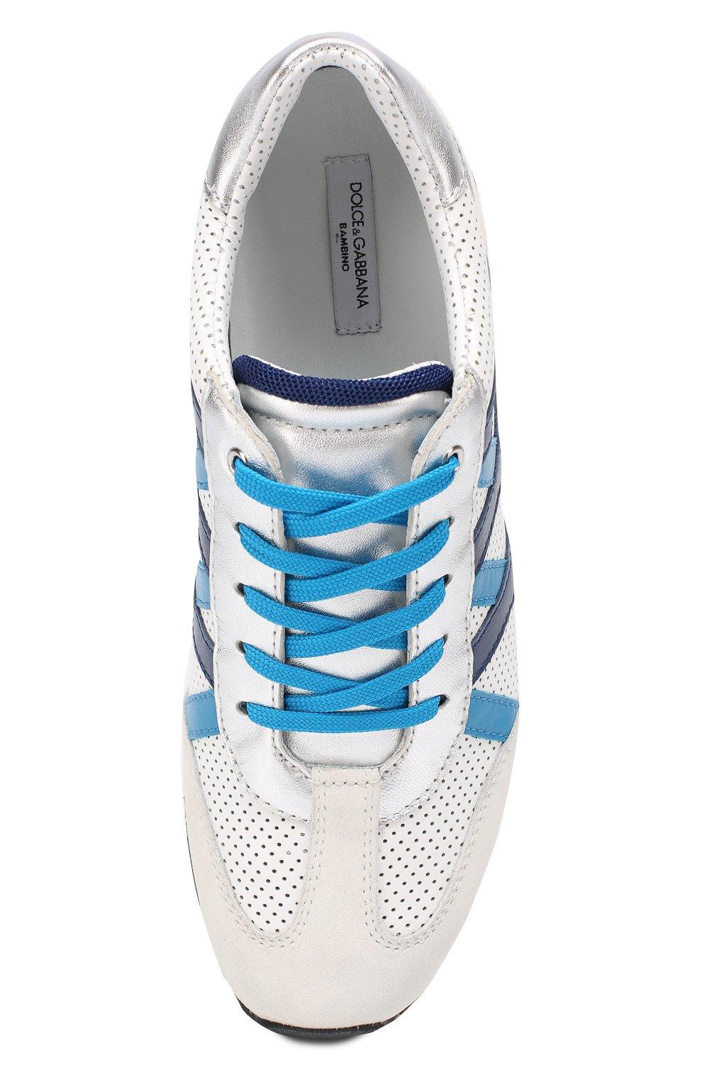 Детские комбинированные кроссовки с перфорацией Dolce & Gabbana белого цвета   Фото №4