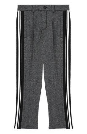 Хлопковые брюки прямого кроя с лампасами | Фото №1