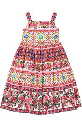Детское сарафан из хлопка с принтом Dolce & Gabbana разноцветного цвета | Фото №1