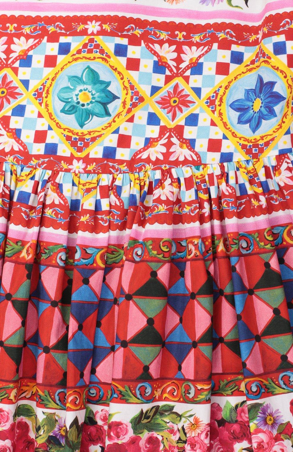 Детское сарафан из хлопка с принтом Dolce & Gabbana разноцветного цвета | Фото №3