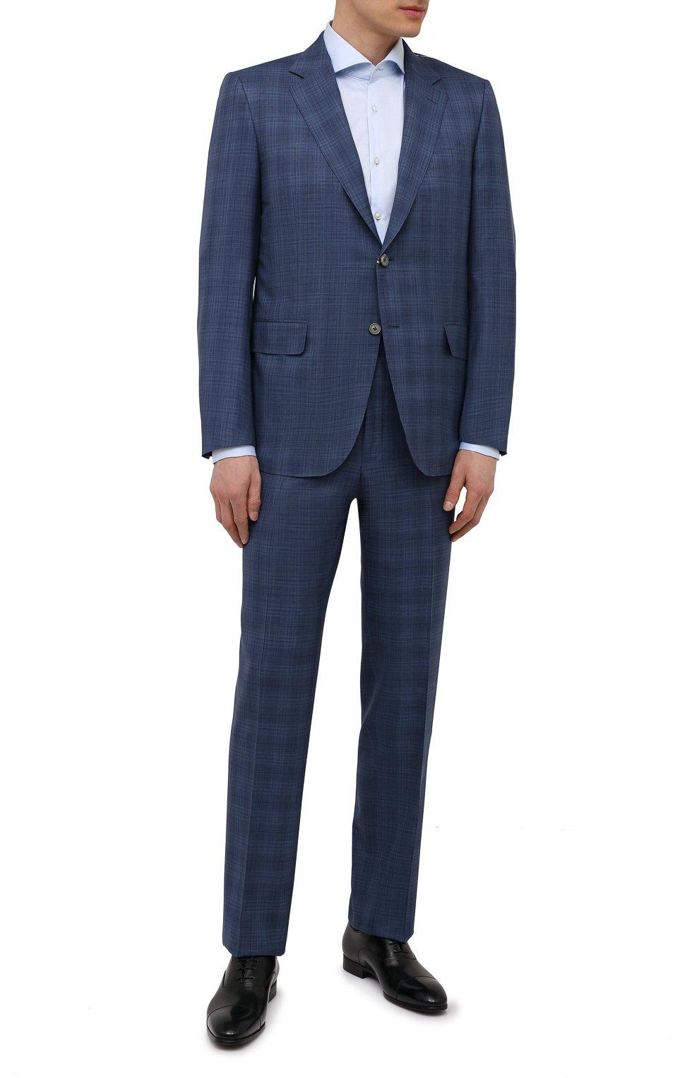Мужская хлопковая сорочка HUGO голубого цвета, арт. 50289491   Фото 2 (Манжеты: На пуговицах; Рукава: Длинные; Воротник: Акула; Длина (для топов): Стандартные; Материал внешний: Хлопок; Случай: Формальный; Принт: Однотонные)