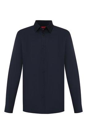 Мужская хлопковая сорочка HUGO темно-синего цвета, арт. 50289618 | Фото 1