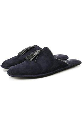 Домашние замшевые туфли с кисточками | Фото №1