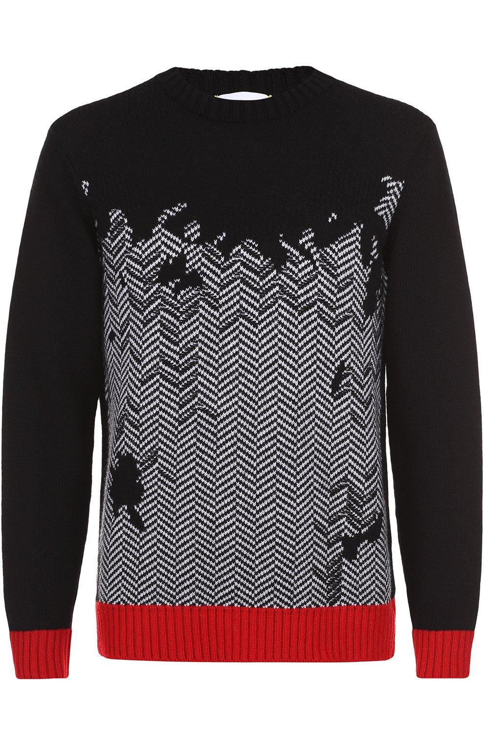 ed4016d1d95c6 Шерстяной свитер с узором и контрастной отделкой Iceberg черный | Фото №1