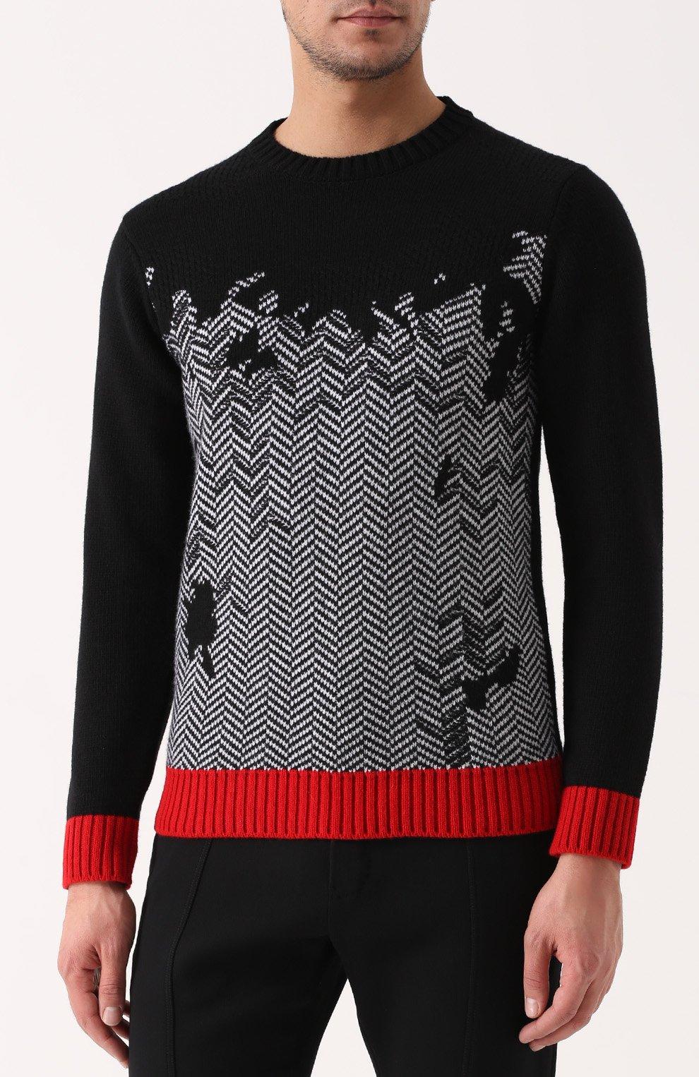 1373cfa5693fd Шерстяной свитер с узором и контрастной отделкой Iceberg черный | Фото №3