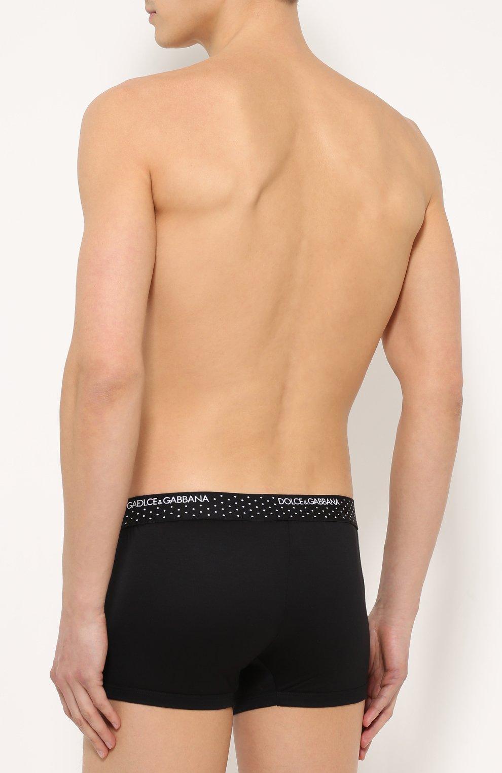 Боксеры из смеси вискозы и шелка с широкой резинкой Dolce & Gabbana черные   Фото №4
