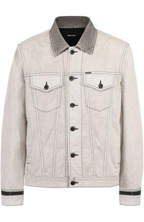 Джинсовая куртка с контрастной отделкой   Фото №1