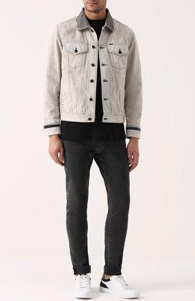 Джинсовая куртка с контрастной отделкой Diesel белая   Фото №1