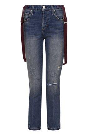 Укороченные джинсы с потертостями и съемными подтяжками AMO синие   Фото №1