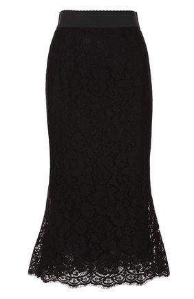 Кружевная юбка годе с широким поясом | Фото №1