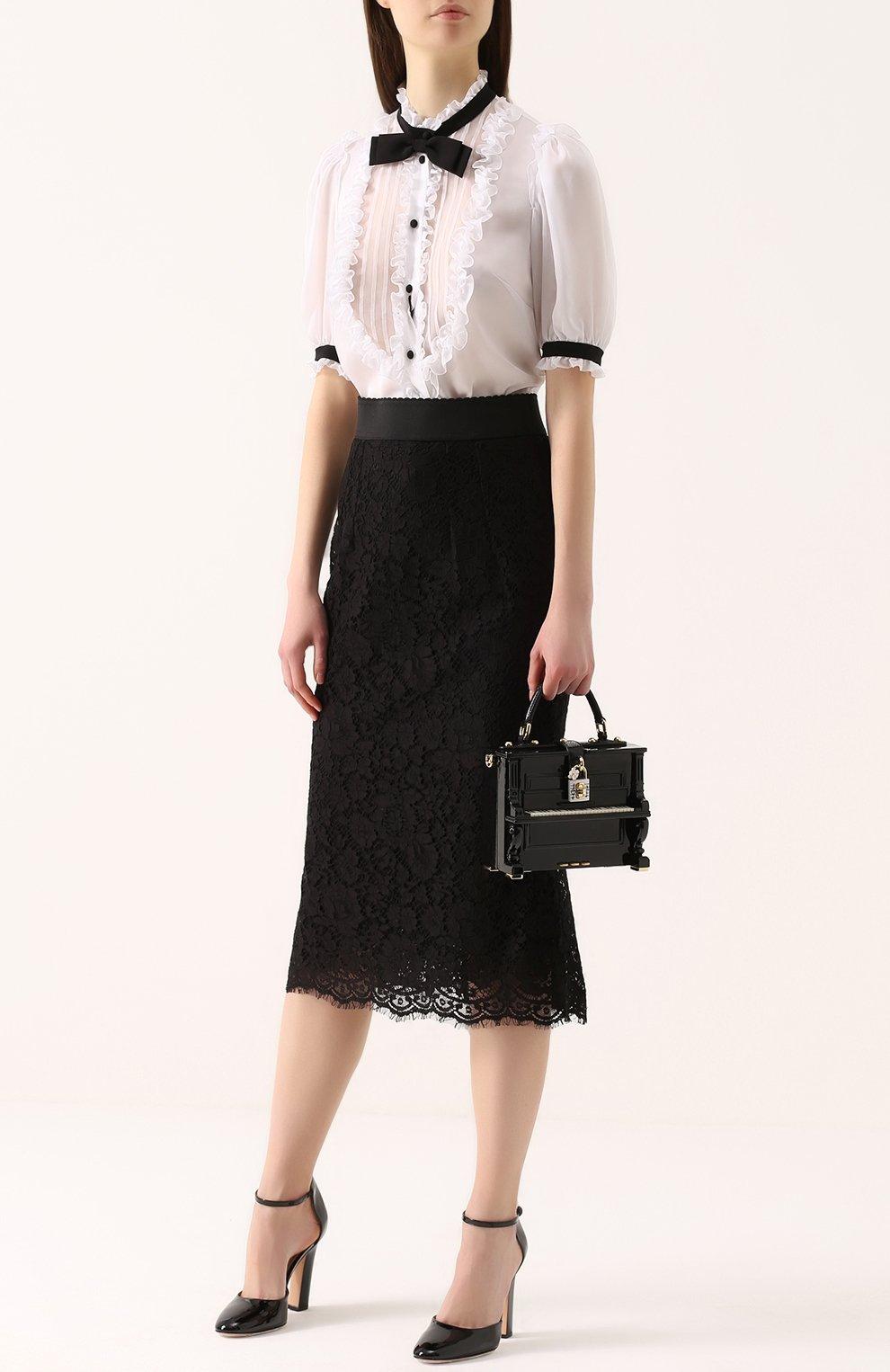 Кружевная юбка годе с широким поясом | Фото №2