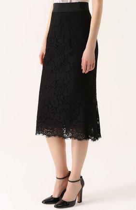 Кружевная юбка годе с широким поясом | Фото №3